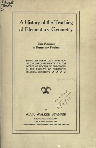 Download History of the teaching of elementary geometry