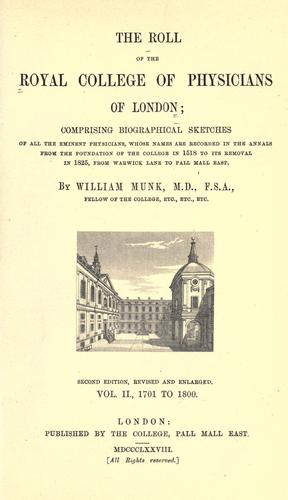 Download The roll of the Royal College of Physicians of London