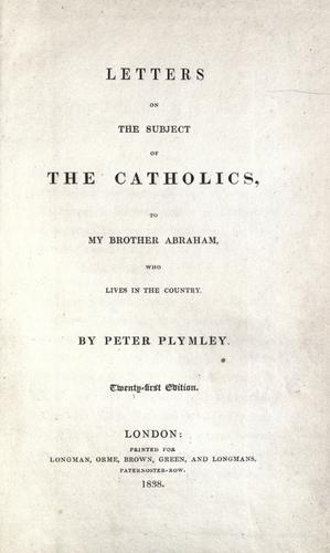 Letters on the subject of the Catholics