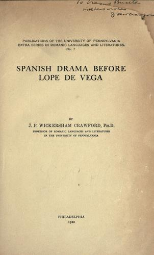 Spanish drama before Lope de Vega