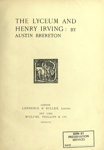 The Lyceum and Henry Irving.