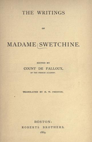 The writings of Madame Swetchine