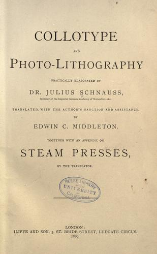 Download Collotype and photo-lithography