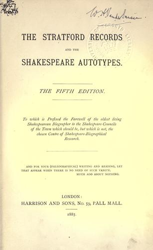 Download The Stratford records and the Shakespeare autotypes