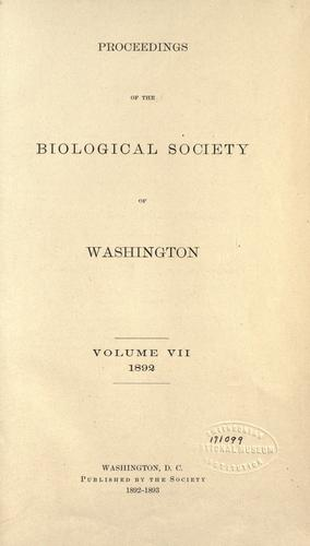 Proceedings of the Biological Society of Washington by Biological Society of Washington.