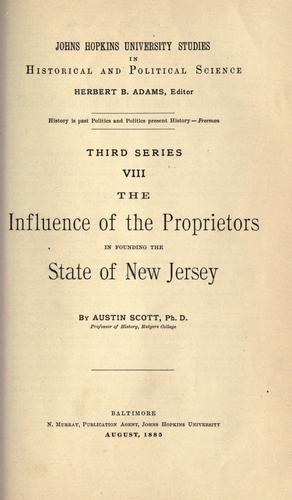 Download The influence of the proprietors in founding the state of New Jersey