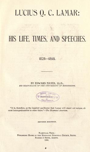 Download Lucius Q.C. Lamar, his life, times, and speeches, 1825-1893