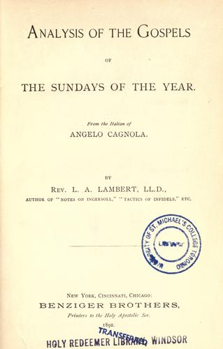 Analysis of the Gospels of the Sundays of the year