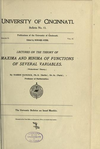 Lectures on the theory of maxima and minima of functions of several variables.