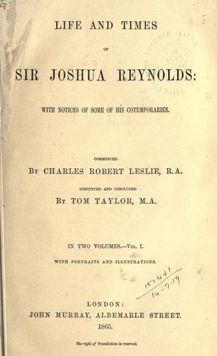 Download Life and times of Sir Joshua Reynolds