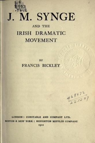 J.M. Synge and the Irish dramatic movement.