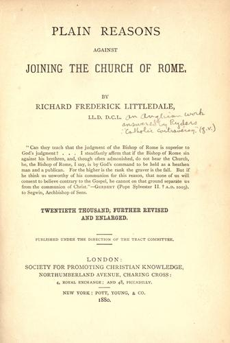Download Plain reasons against joining the Church of Rome