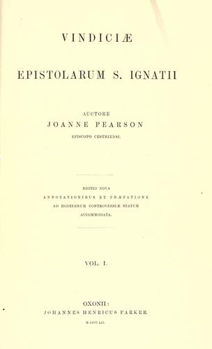 Download Vindiciae epistolarum S. Ignatii.