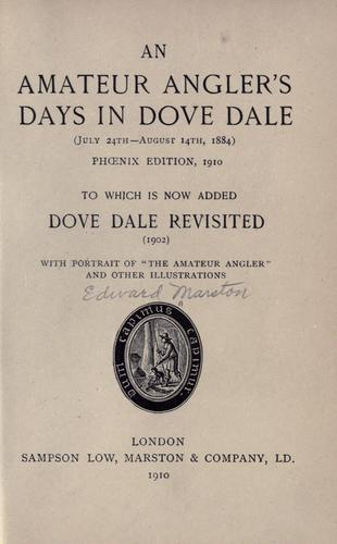 Download An Amateur Angler's Days in Dove Dale …