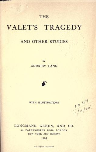Download The valet's tragedy and other studies.