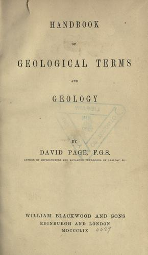 Download Handbook of geological terms and geology