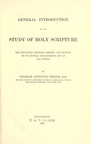 General introduction to the study of Holy Scripture