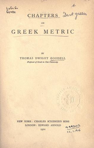 Download Chapters on Greek metric.