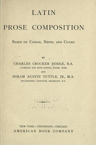 Download Latin prose composition