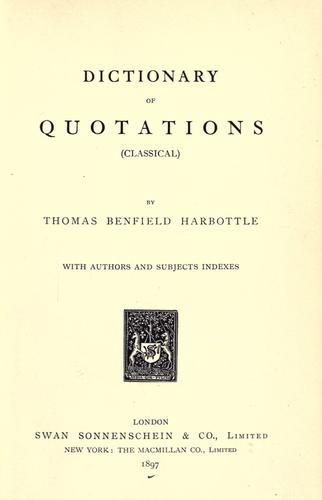 Dictionary of quotations (classical)