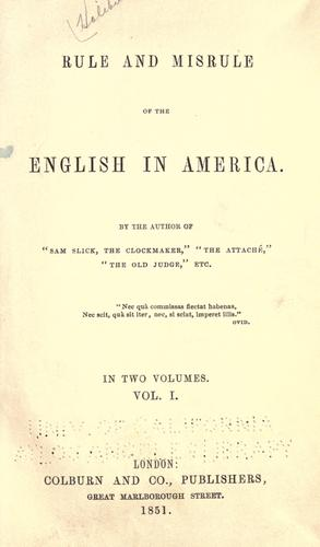 Download Rule and misrule of the English in America.