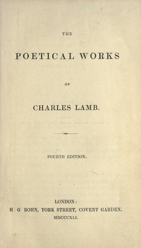 The poetical works of Charles Lamb.