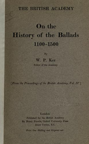 Download On the history of the ballads, 1100-1500
