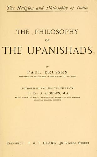 The philosophy of the Upanishads.