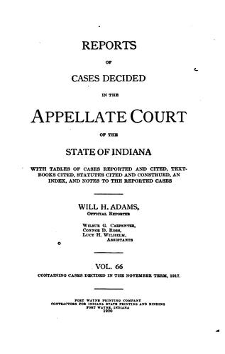 Reports of Cases Decided in the Appellate Court of the State of Indiana