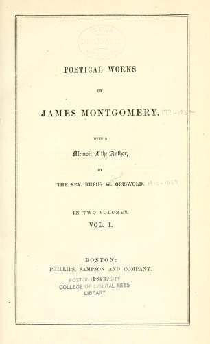 Poetical works of James Montgomery.