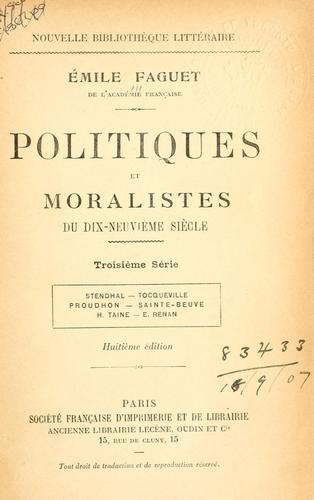 Politiques et moralistes du dixneuvième siècle.