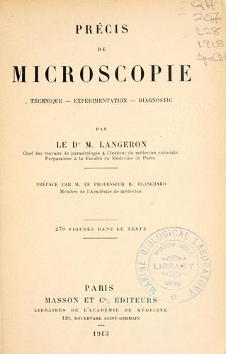 Précis de microscopie