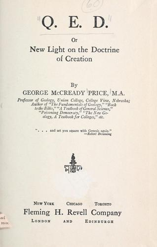 Download Q.E.D.; or, New light on the doctrine of creation