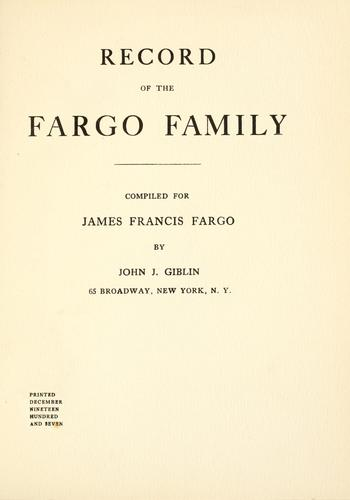 Record of the Fargo family