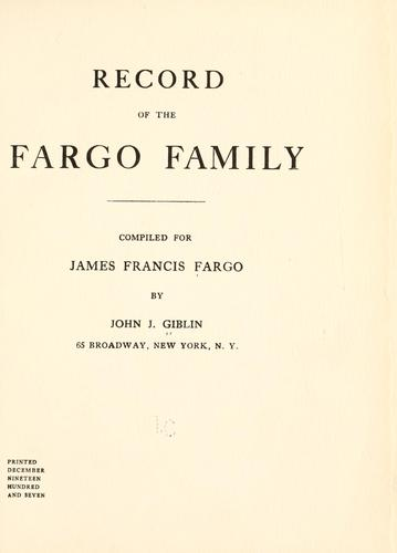 Download Record of the Fargo family.