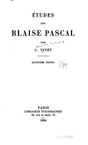 Download Études sur Blaise Pascal