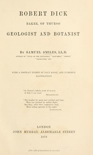 Download Robert Dick, baker, of Thurso, geologist and botanist.