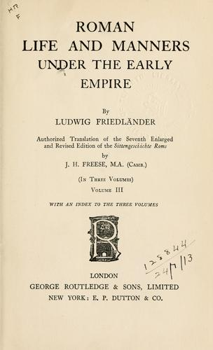 Download Roman life and manners under the early empire …