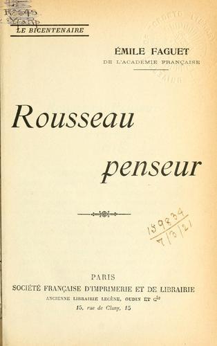 Rousseau penseur.