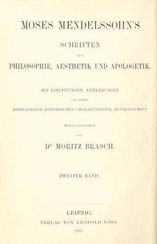 Schriften zur Philosophie, Aesthetik und Apologetik