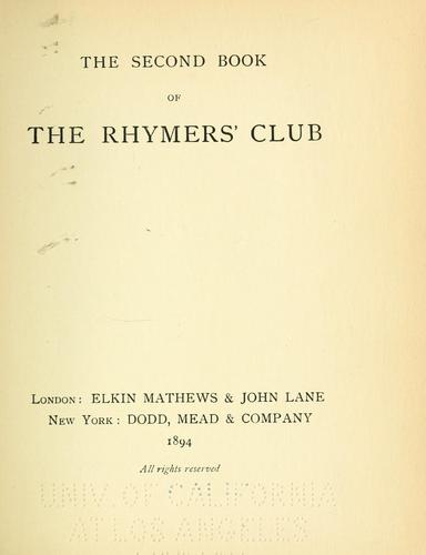 Download The second book of the Rhymers' Club.
