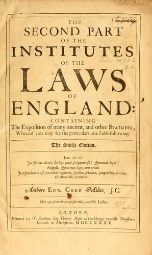 Download The second part of the Institutes of the laws of England