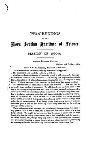 Proceedings of the Nova Scotian Institute of Science