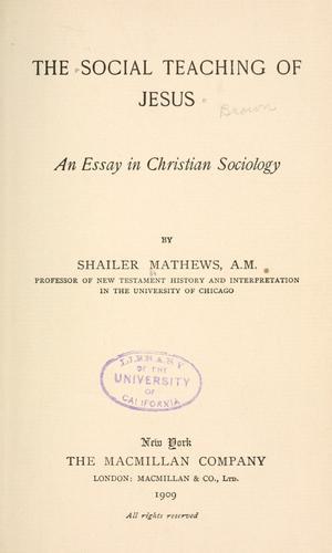 The social teaching of Jesus