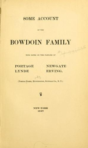 Download Some account of the Bowdoin family