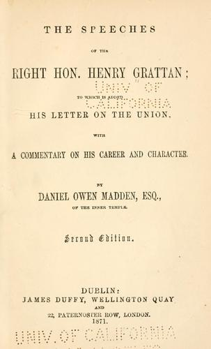 The speeches of the Right Hon. Henry Grattan