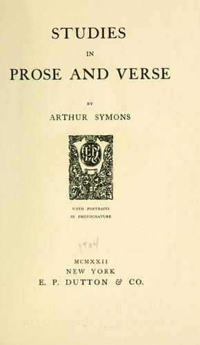 Studies in prose and verse