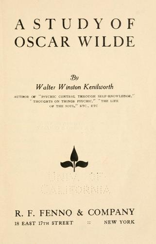Download A study of Oscar Wilde