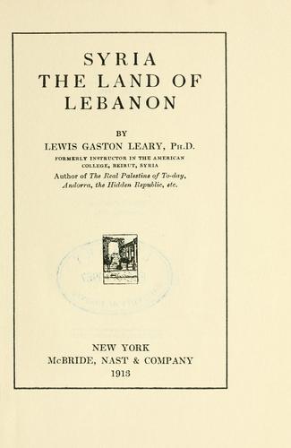 Syria, the land of Lebanon.
