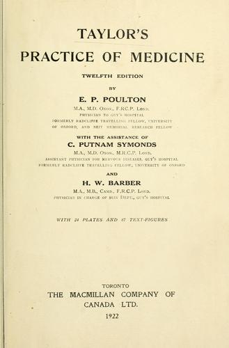 Taylor's practice of medicine.